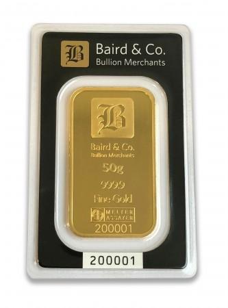 Buy 50g gold bar ARGOR & Baird Minted bar