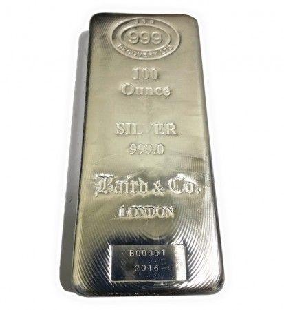JBR & Baird Silver cast bar 100 ounces buy online