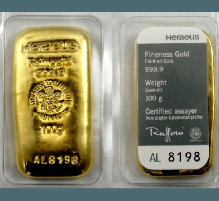 Argor-Heraeus gold cast 100 g bar buy online