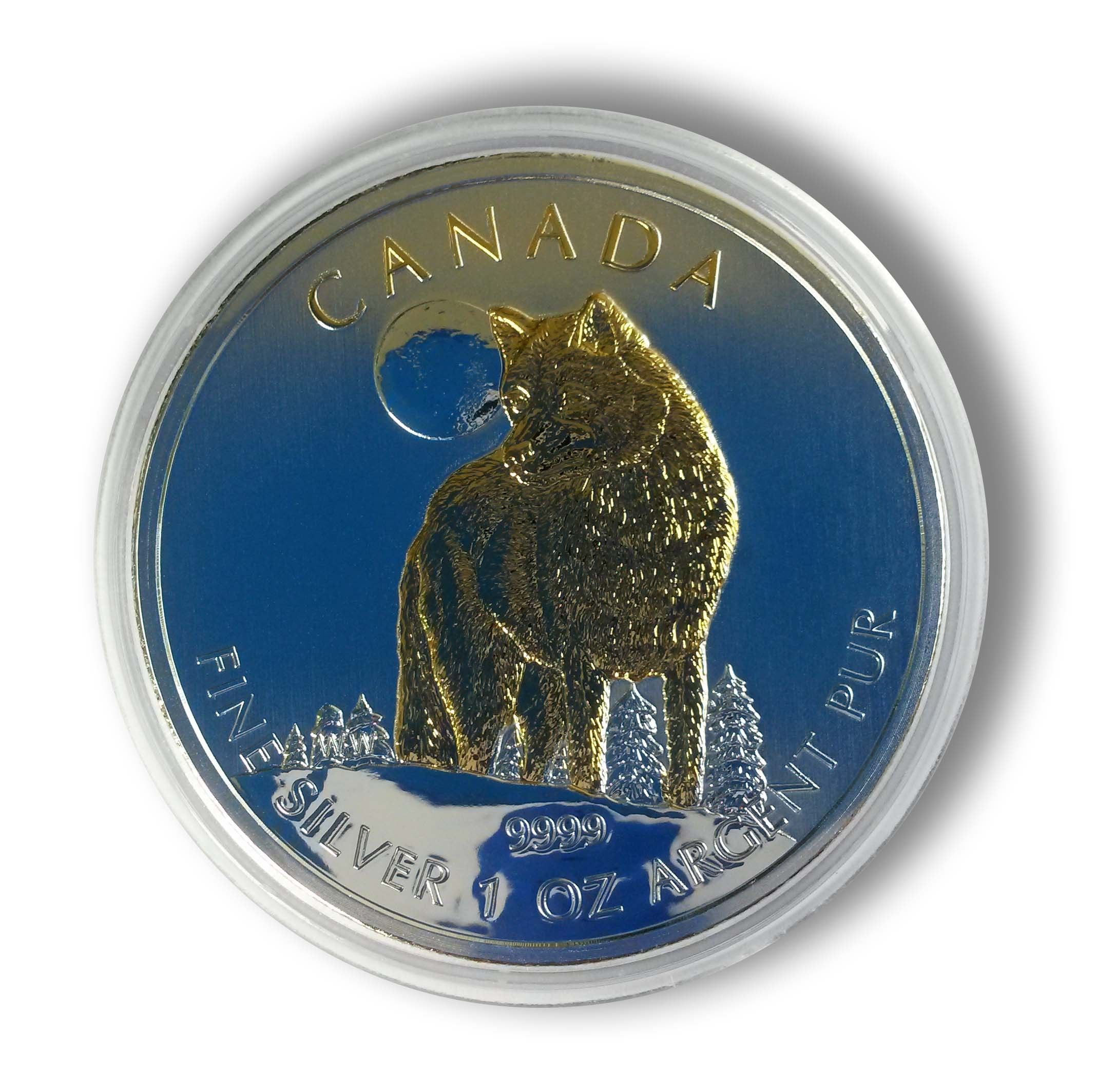 Buy 1oz Silver Canada Wolf 2011 24k Gold Gilded In Usd