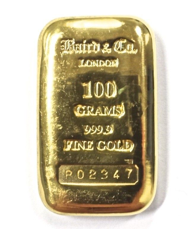 Buy 100 Gram Gold Cast Bar Baird Mint 99 99 In Usd