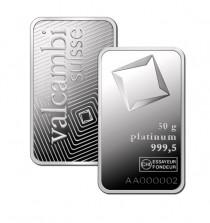 Buy 50 gram platinum Valcambi bar .999 Fine online