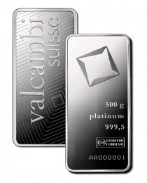 Buy 500 gram platinum Valcambi bar .999 Fine online