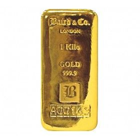 1 Kilo Gold Cast Bar, 99.99% Purity