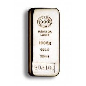 1 Kilo JBR branded Cast Silver Bar, 999% Ag - LBMA Good Delivery