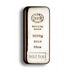 1 Kilo JBR branded Cast Silver Bar, 999% Ag - LBMA Good Delivery with Certificate