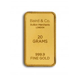 Gold Minted Bar - 20 grams, 99.99% Purity