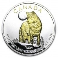 2011 1oz Canadian Wildlife Series Silver Timber Wolf 24k Gold Gilded Coin